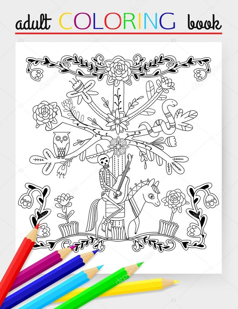 Adult Coloring Page With Flowers Skeleton Horse Tree Owl
