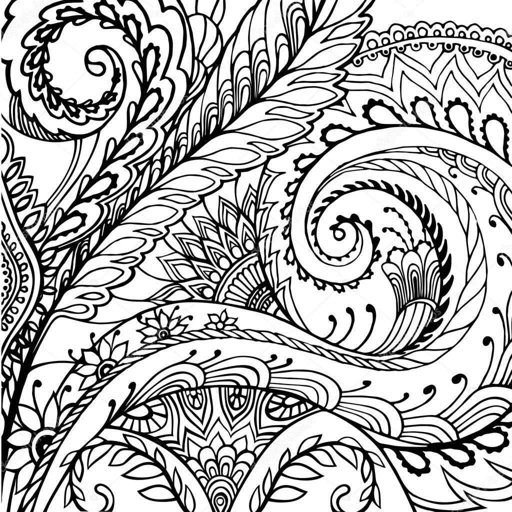 Primavera o verano flores patrón - página para colorear de adultos ...