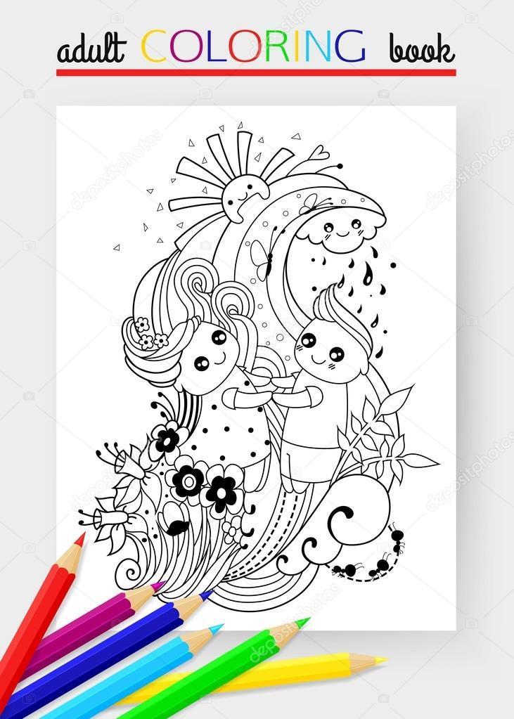 Página para colorear adulto con niño y niña, nube, sol, lluvia ...