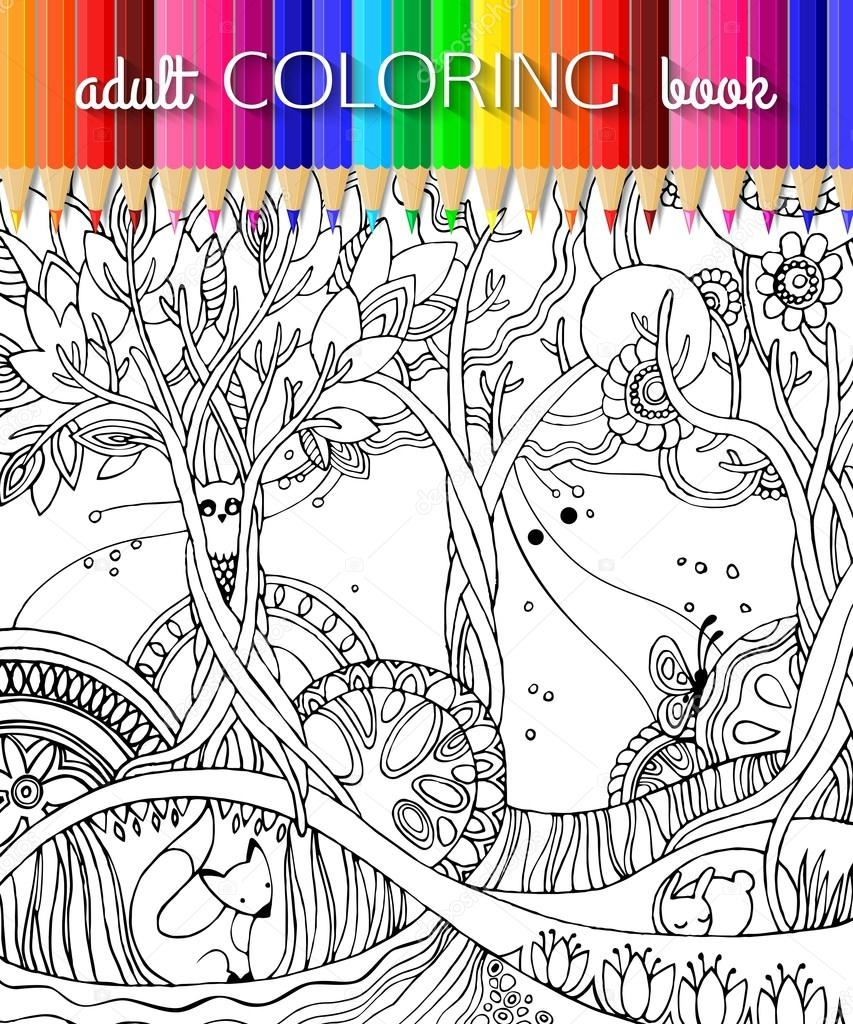 Adult coloring page with forest, fox, owl, rabbit, butterfly, trees, flowers. Fairy forest. Book template. Book design. Vector illustration.