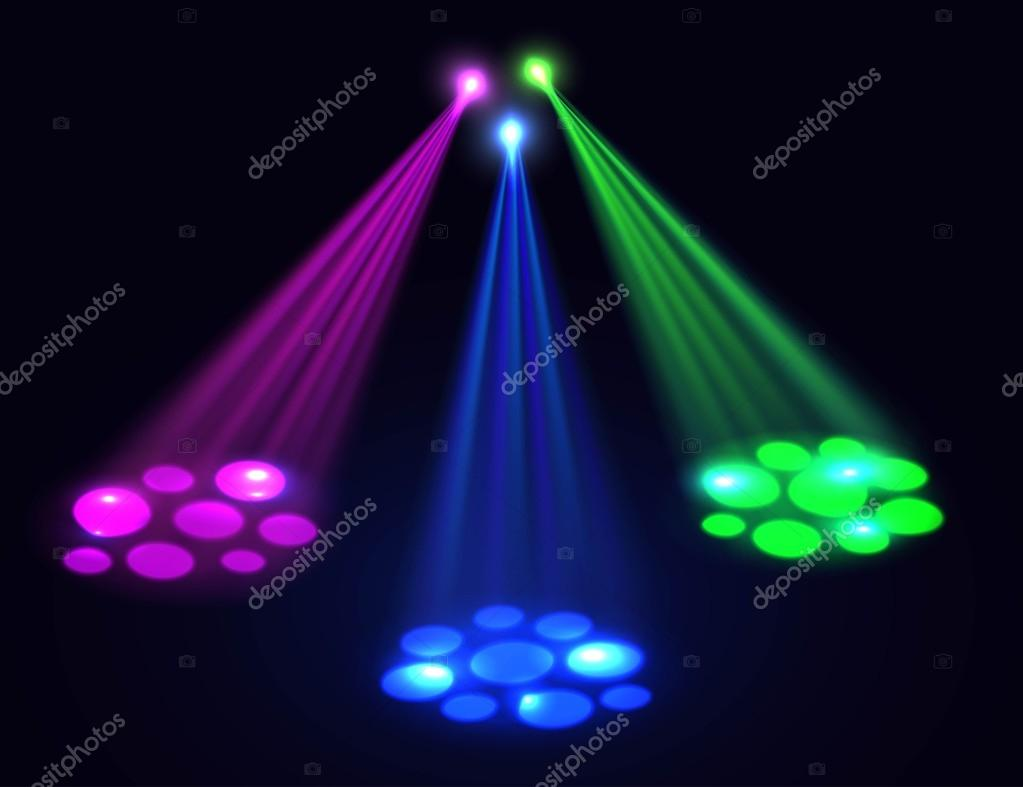 Fancy Club Light Effects In A Dark Background Stock: Club Lights Background. Vector Spotlights Effect Over Dark