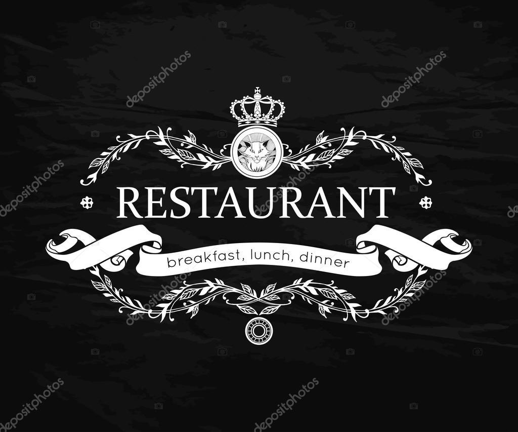Diseño de menú de restaurante. Vintage plantilla de Logo para ...