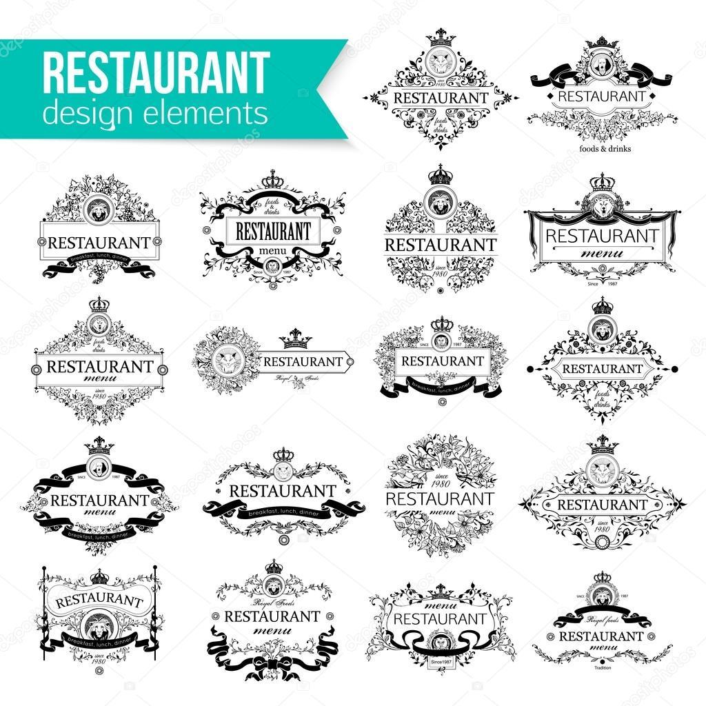 Conjunto de plantilla de insignia de lujo para restaurante ...