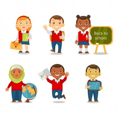 Different ethnic kids back to school. Multicultural school children going to school together. Smiling children cartoon isolated on white background.