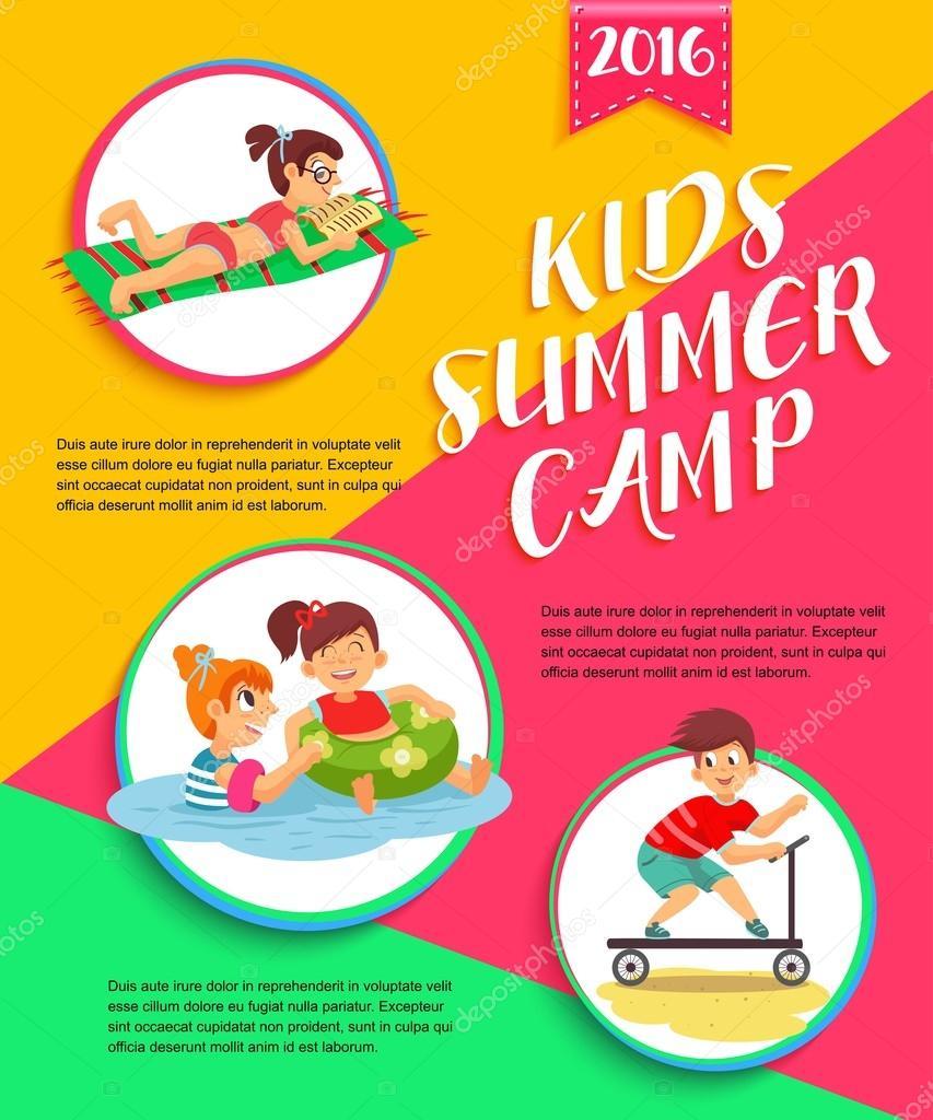 Kids Summer Camp Poster Children Playing Vector