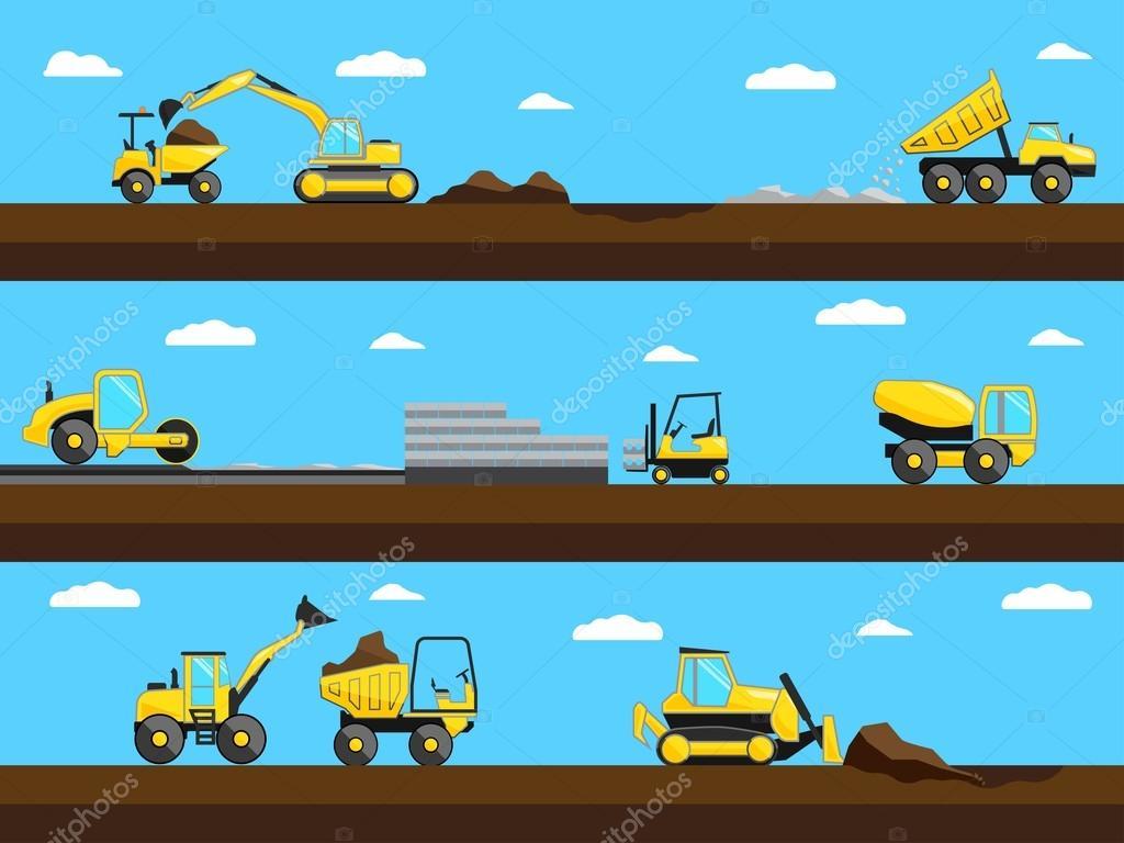 建設プロセスブルドーザートラック工事現場の掘削機ベクトル