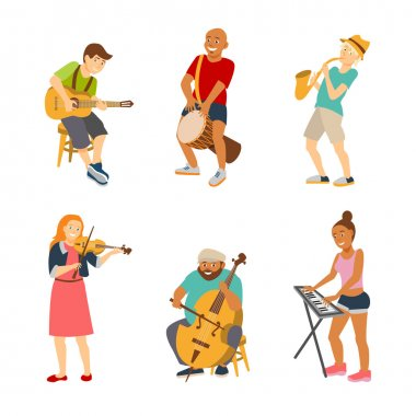 Musician cartoon characters isolated on white background. Vector musicians people icons flat style. Drummer, guitarist, violinist, bassist, keyboardist and saxophonist street musicians.
