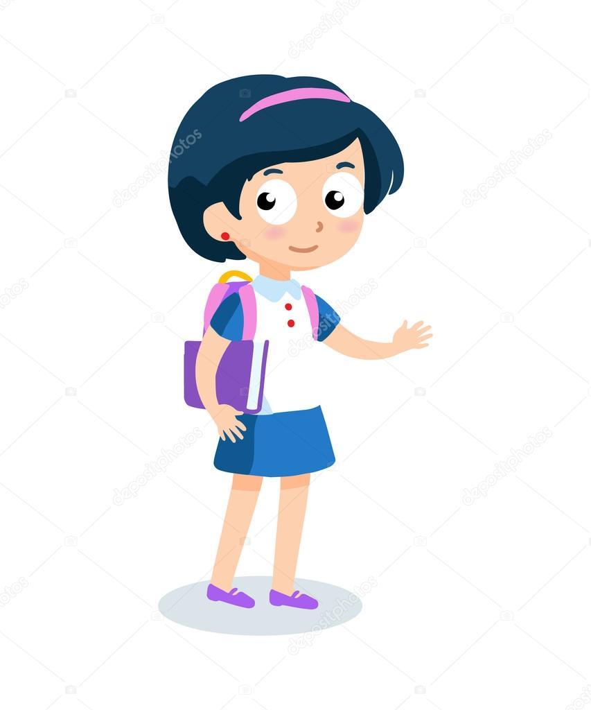 Portrait de jeune fille adolescente avec sac dos - Personnage manga fille ...