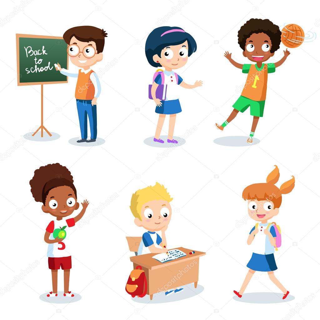 Vector Niños Estudiantes Juego De Alegres Niños En Edad Escolar