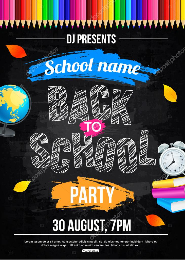 Back to school party poster template — Stock Vector © VectorGift ...