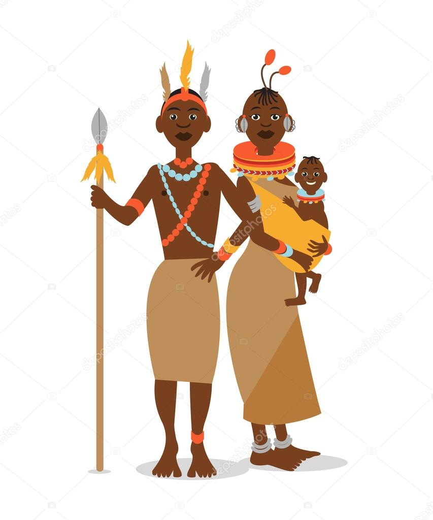 African Couple With A Baby In Traditional Ethnic Clothing Vector