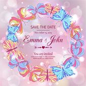 Romantikus esküvői meghívó kézzel rajzolt pillangók glimmered
