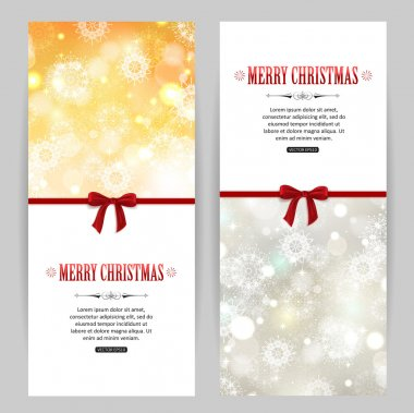 Merry christmas golden and silver banners with snowflakes, ribbons