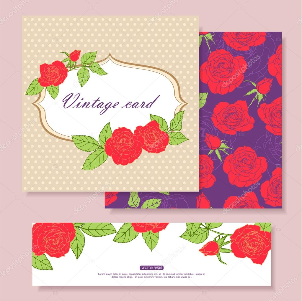 Collection of vintage floral cards — Stock Vector © VectorGift #55503329