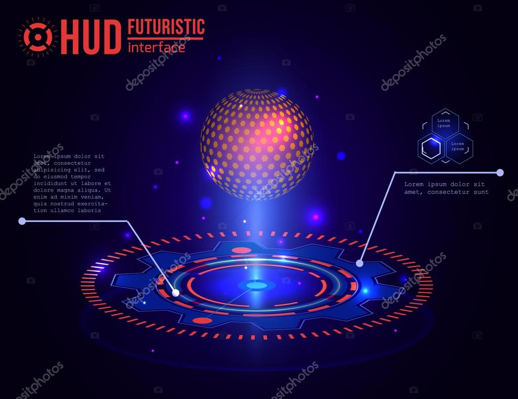 Futuristic HUD interface elements