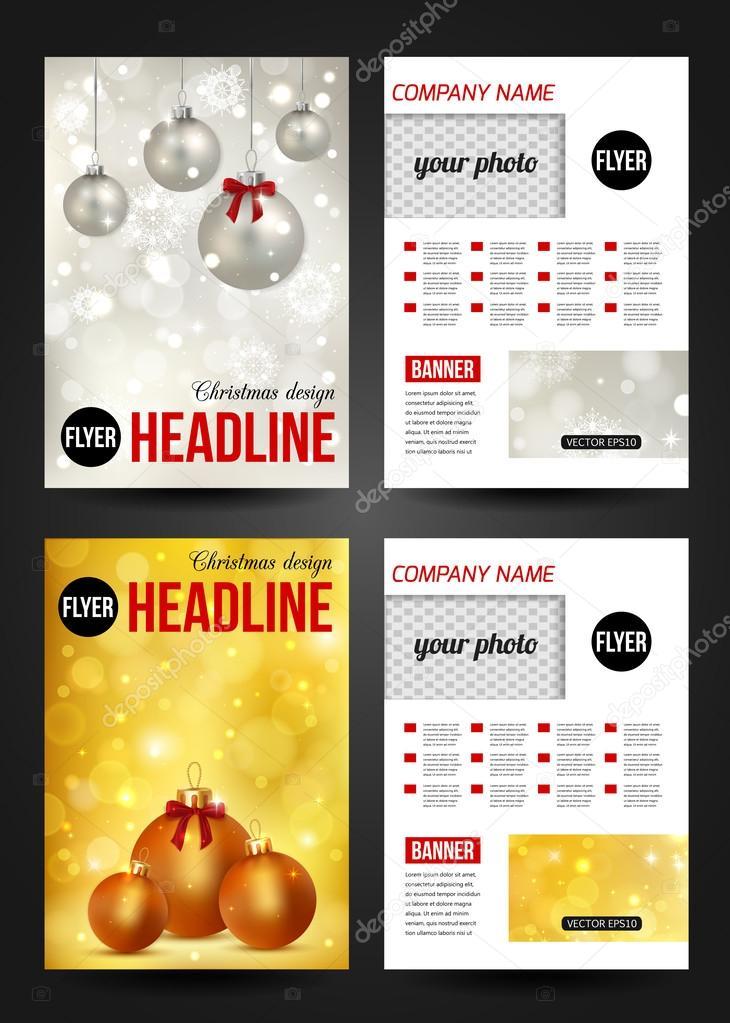 Set of Christmas stationery templates