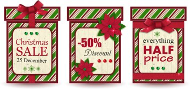 Set of three vintage christmas sale labels