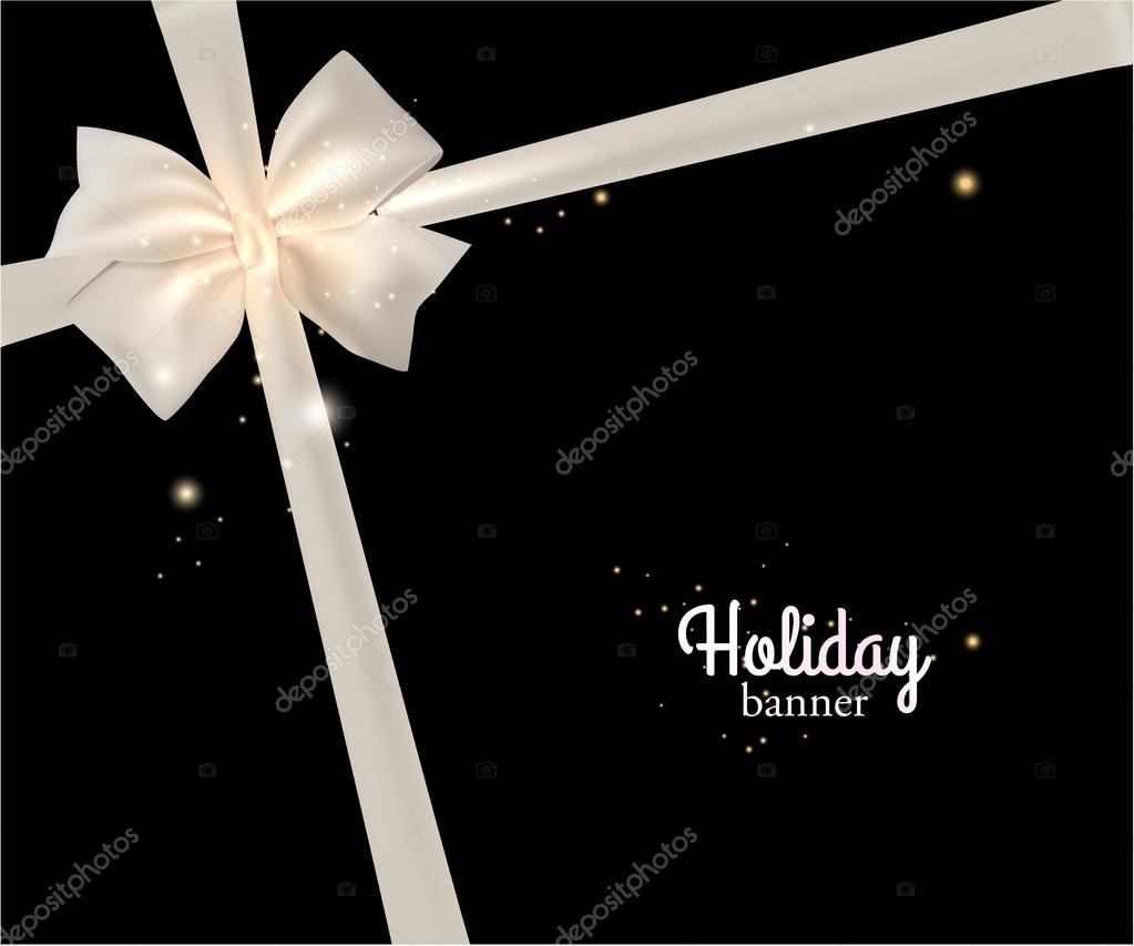 Holiday banner with white bow