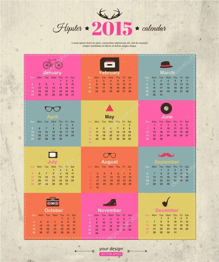 2015 calendar template hipster design — Stock Vector © VectorGift ...