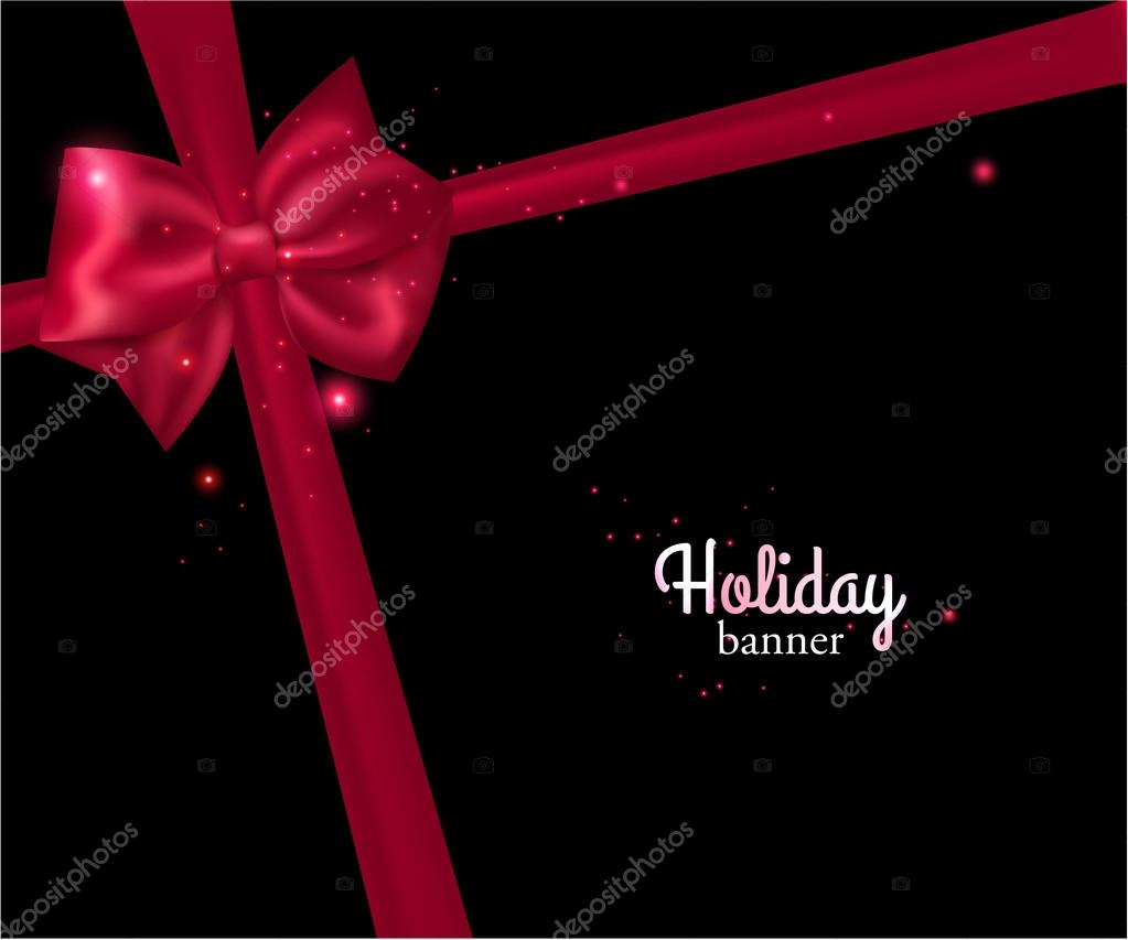 Holiday banner with red bow