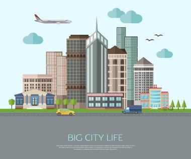 Big city life illustration