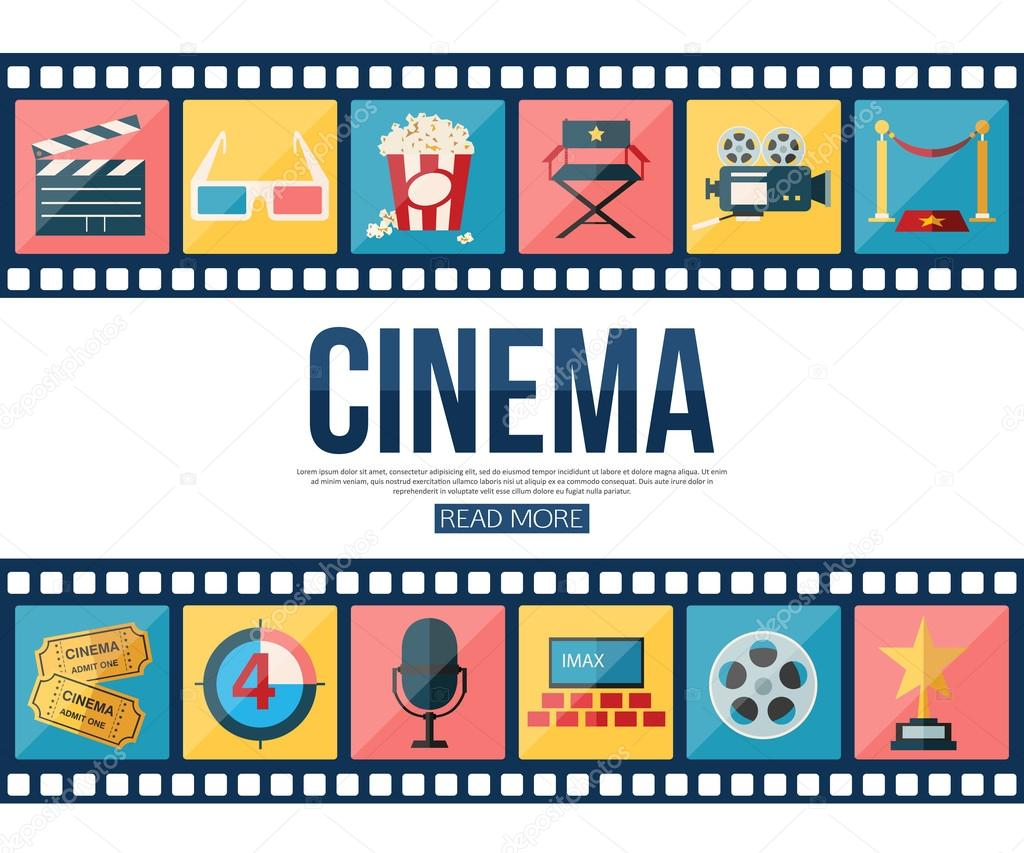 Film strips and cinema icons