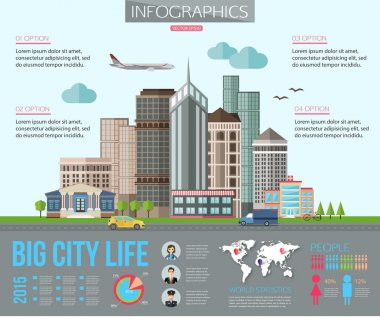 Big city life infographics