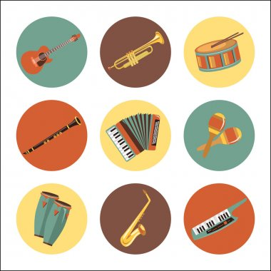 Set of music instruments icons