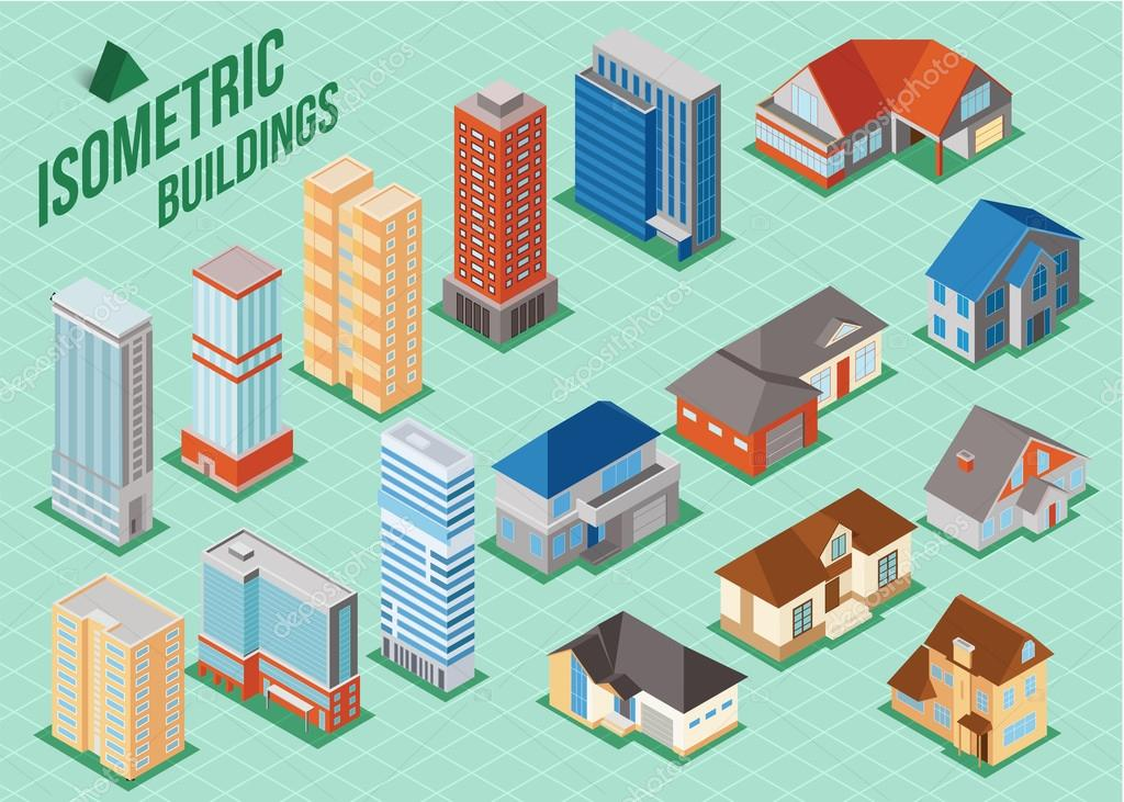 private houses and tall buildings icons