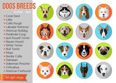 Set of popular breeds of dogs icons