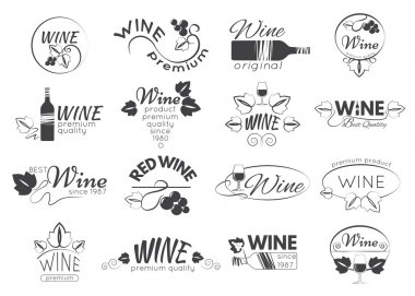 Set of wine labels, badges