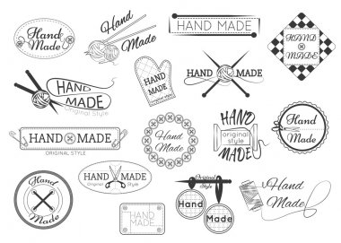 Set of hand made labels