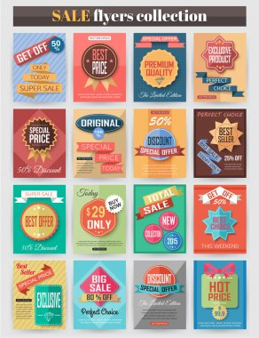 Set of colorful Sale flyers