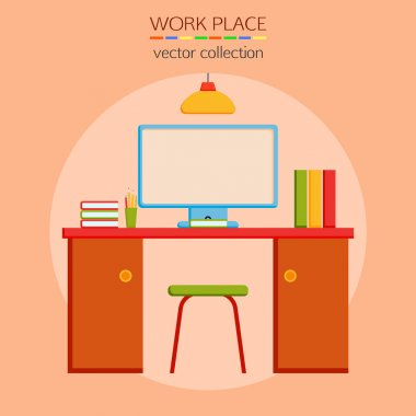 Flat design work place icon.