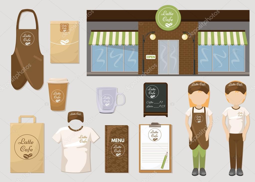 cafetería y restaurante burlan de plantillas — Vector de stock ...