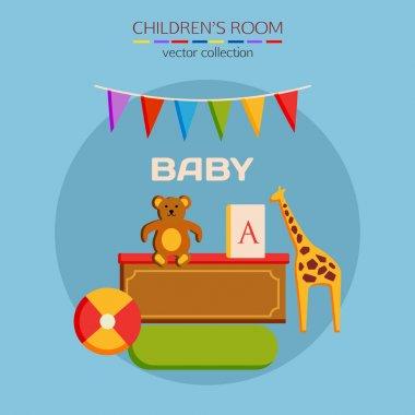 Flat design children room