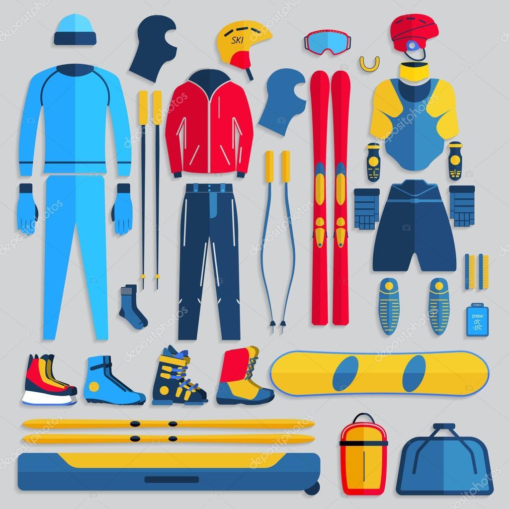 e37bcbb19 Grande coleção de roupas de inverno aconchegante e acessórios de jogos de  esporte de inverno. Esqui