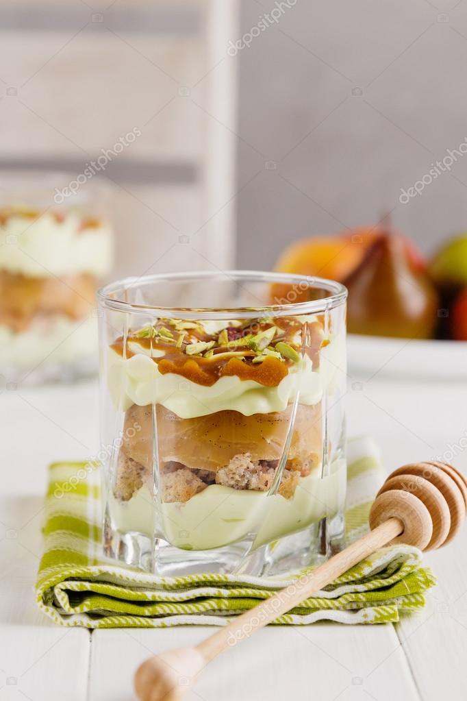 Päron Dessert I Glas Stockfotografi Torriphoto 107261590