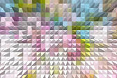 Fotografie Pastel colored abstract geometric background with pyramid extrud