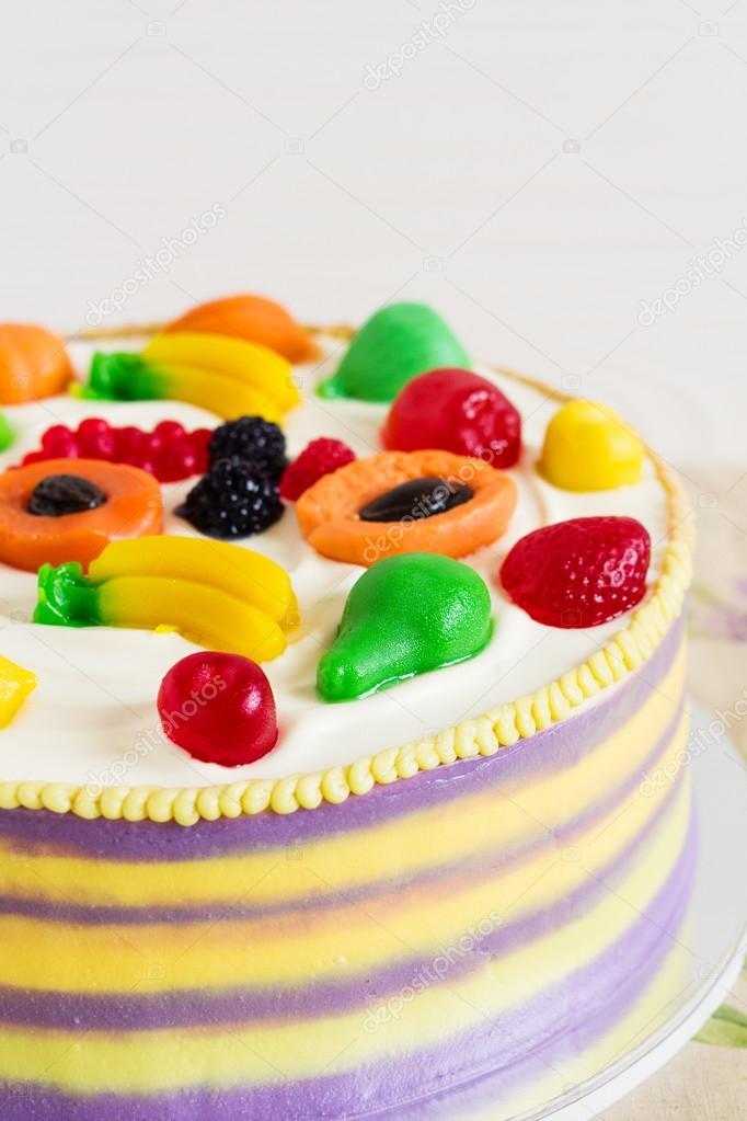 Bunte Kuchen Mit Obst Gelee Fur Kinder Party Stockfoto