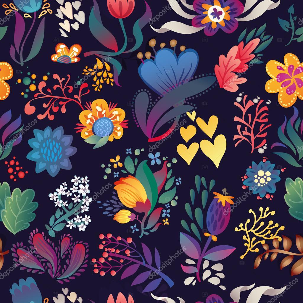 Flowers seamless pattern decorative vector card illustration. doodle plants