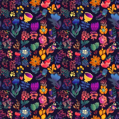 Flowers seamless pattern decorative vector card illustration stock vector
