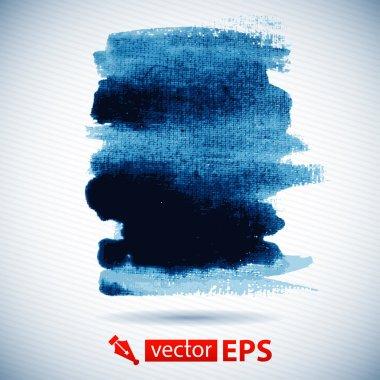 Blue wet brushstroke on canvas texture.