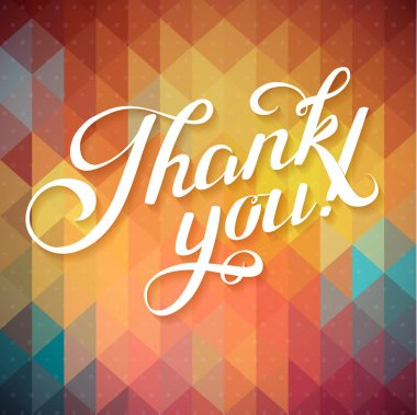 Thank you card on colorful magic geometric background. Gratitude card for different occasions. clip art vector