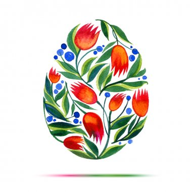 Template for Easter  greeting card or invitation. Happy Easter! Watercolor flower tulips egg