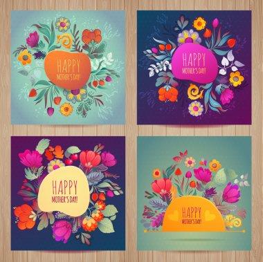 """Картина, постер, плакат, фотообои """"набор поздравительных открыток на день матери цветы одуванчики маки"""", артикул 70988715"""