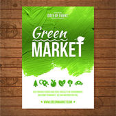 Fotografie Ecology Green market invitation poster. Green stroke trees and shrubs on wood background