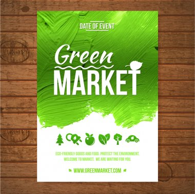 Ecology Green market invitation poster. Green stroke trees and shrubs on wood background. stock vector