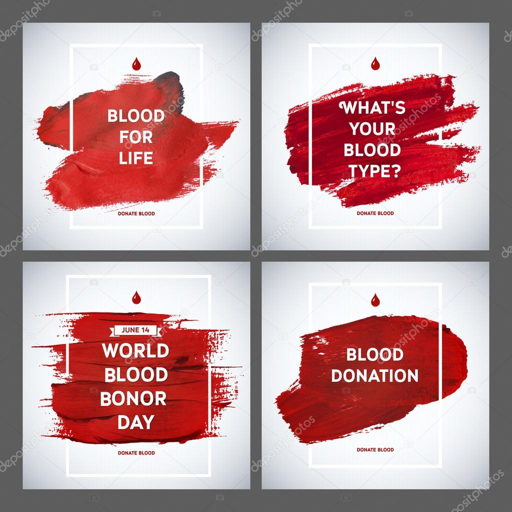 Creative Blood Donor Day motivation information donor poster set. Blood Donation. World Blood Donor Day banner. Red stroke and text. Medical design elements. Grunge texture.