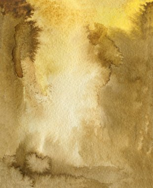 Watercolor Coffee Color Water Paper Background. Abstract brown raster illustration.